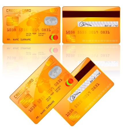 atm card: ilustraci�n de tarjetas de cr�dito, frontal y posterior Vectores