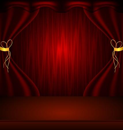 rideau sc�ne: illustration de rideau de sc�ne rouge avec ombre et de lumi�re