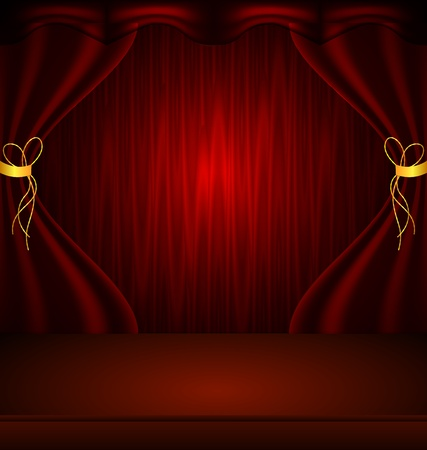 illustration of Red stage curtain with light and shadow