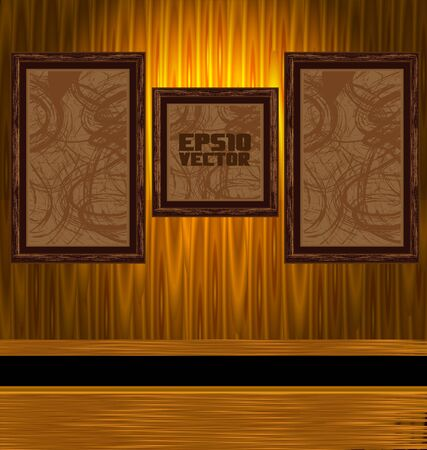 Illustration A dark, grungy room with gold frames on the wall Vector