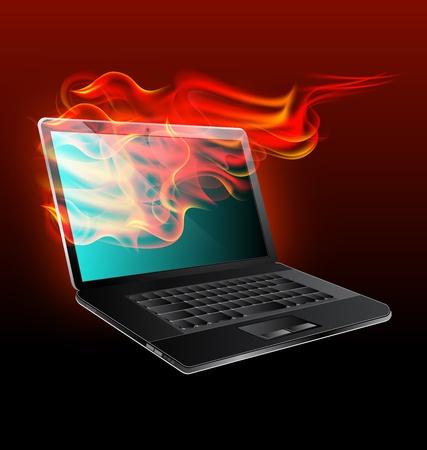 lägereld: Laptop i öppen eld på en svart bakgrund