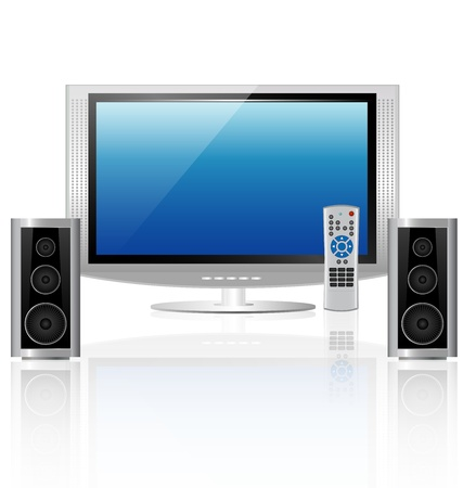 modern home theater interior on white background Vector