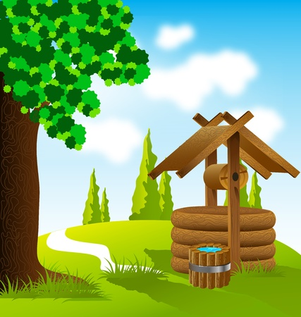 landscape with old wooden well and bucket of water Vector