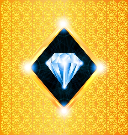 illustration of a sparkling diamond on a gold background Illustration