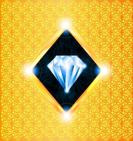 mvp: illustration of a sparkling diamond on a gold background Illustration