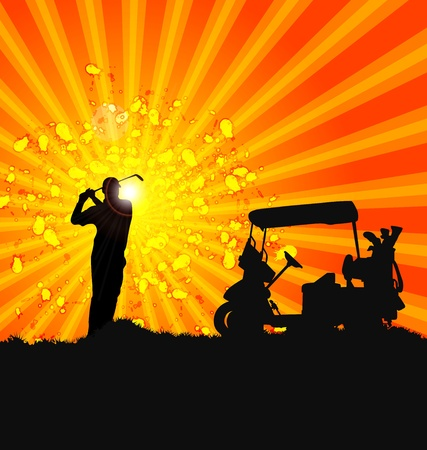 Vector Golfer Silhouettes design poster Illustration