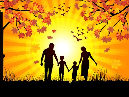 parenting: vector walking family autumn leaves