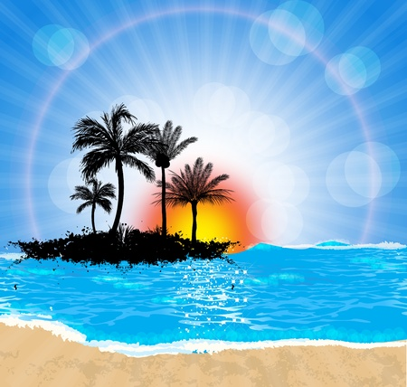 estrella de mar: Dibujos animados paisaje marino. Vector