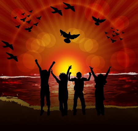 children silhouettes on sunset background Vector