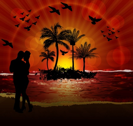happiness people silhouette on the sunset: A Couple on the Beach at Sunset Illustration