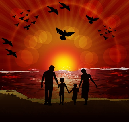 family outside: Silhouette of affectionate family enjoying while walking on the beach at sunset