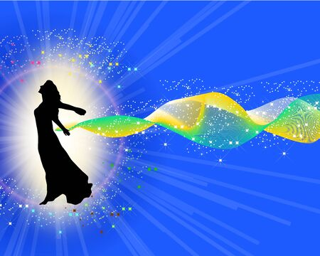 Beautiful young woman jumping. special effects used in artwork Vector