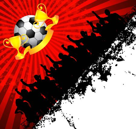 football fan: Soccer ball (football) with silhouettes of fans