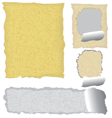 collection of various grunge paper pieces on white background Vector