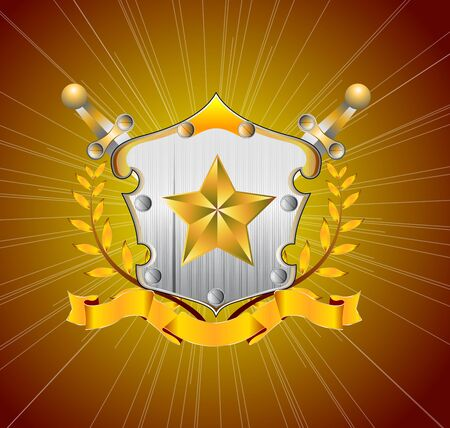 Illustration of gold star with heraldic element Vector