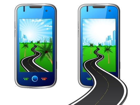 illustration of city and road in mobile Vector