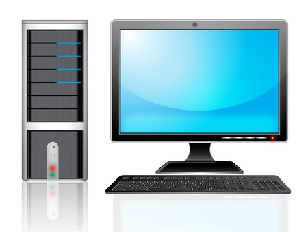 touch screen interface: illustration of Personal computer monitor. Illustration