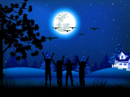 illustration of Christmas night and childrens Stock Vector - 11513813