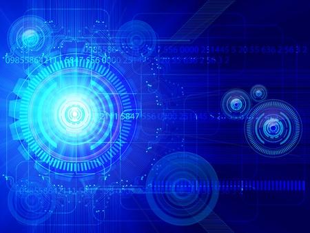 communicatie: illustratie van de Blue-technologie achtergrond. Stock Illustratie