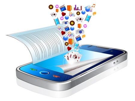 pc: Many application icons are downloaded into a modern black smart phone, appearing to float over the device Illustration