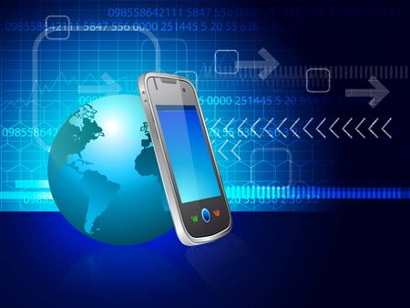 telecommunication: illustration of Touchscreen smartphone with Earth globe Illustration