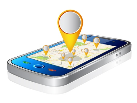 straight pin: illustration of Smartphone with Navigation Illustration