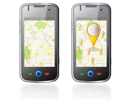 illustration of Smartphone with Navigation Vector
