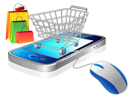 buying a car: An illustration of a shopping cart trolley with smart phone mobile phone