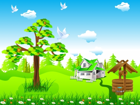 Small house under blue sky Vector