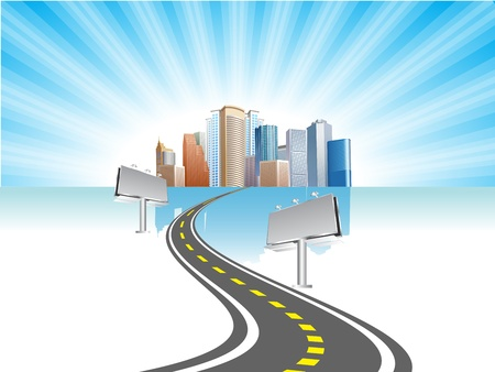 street lamp: billboard with road and city background Illustration