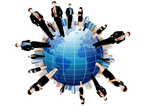 gente comunicandose: hombres de negocios del equipo con el mapa del mundo