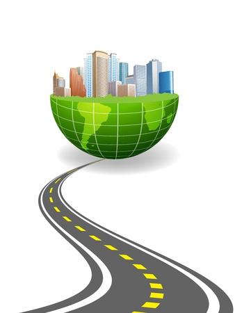 web traffic: illustration of world city & road Illustration