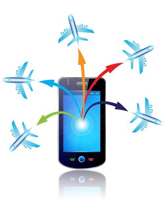 electronic organiser: illustration mobile & Plane