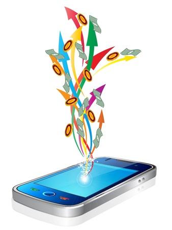 Geld vliegt uit de nieuwe stijl slimme mobiele telefoon Vector Illustratie