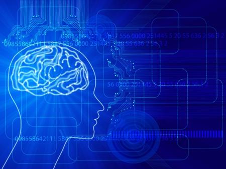 nervenzelle: das Konzept der menschlichen thinking.Abstract Wissenschaft Hintergrund mit Hirn Illustration