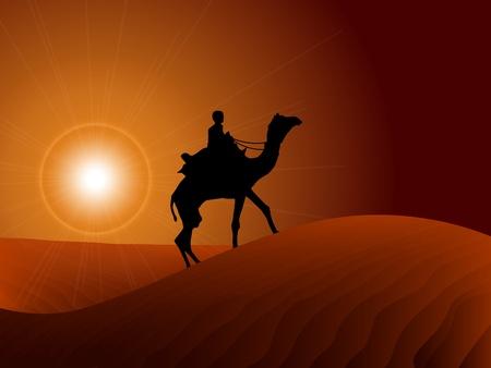 sand dune: Camel rider in arabic skyscraper landscape illustration