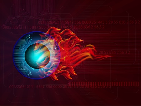 illustration eye ball with fire flame on abstract background Stock Vector - 11820095
