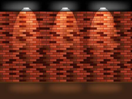 lege ruimte op baksteen - muur met licht Vector Illustratie