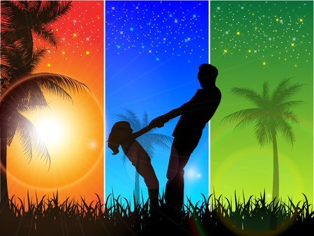 happiness people silhouette on the sunset: Happy family walks on nature, sunset Illustration