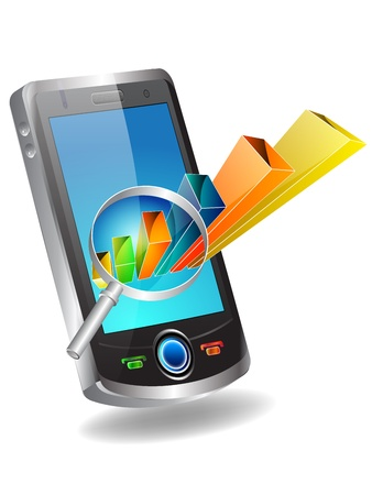 mobile banking: illustration of portable device with 3d glossy bar graph