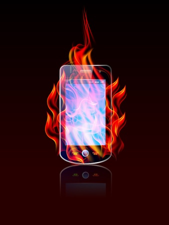 illustration of burning cellphone on black background Vector