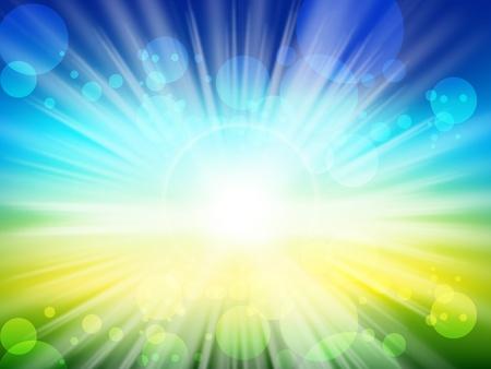 daybreak: Ilustraci�n de la vista borrosa el verano con la luz solar