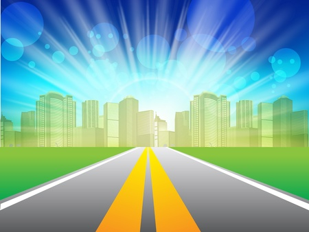 daydream: illustration, long road in city under blue sky