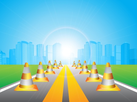 road marking: illustration, long road in city under blue sky