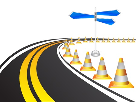 Road with under construction traffic cones Vector