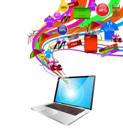 laptop screen: Compras por Internet port�til concepto ilustraci�n. Cesta de volar fuera de la pantalla del port�til Vectores