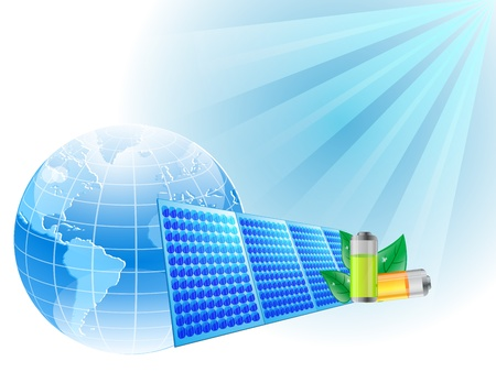 illustration of Solar panel with sun and globe Stock Vector - 11820096