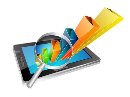 Vector illustratie van stijlvolle tablet-pc met een business concept Vector Illustratie