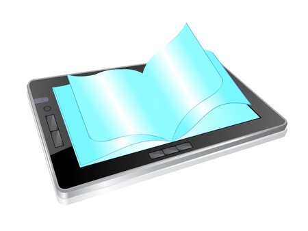 databank: illustration of digital tablet and open pages Illustration