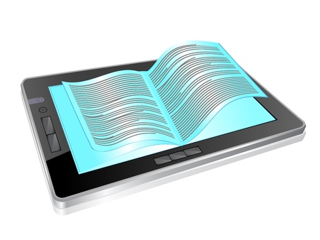 touchpad: illustration of digital tablet and open pages Illustration